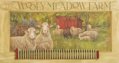 Wooly Meadows Farms, Red Horse Signs, vintage art on wood