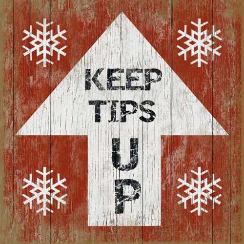 Keep Tips Up 4, Red Horse Signs, vintage art on wood, red  background white arrow, snowflakes