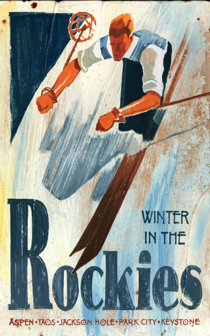Winter in the Rockies, slalom ski, Red Horse Signs vintage art on wood
