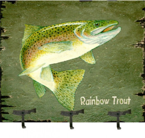 Rainbow Trout, Coat Rack, Red Horse Signs vintage art on distressed wood