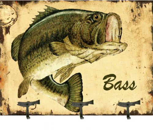 Bass Coat Rack, Red Horse Signs vintage art on wood, fish, fishing
