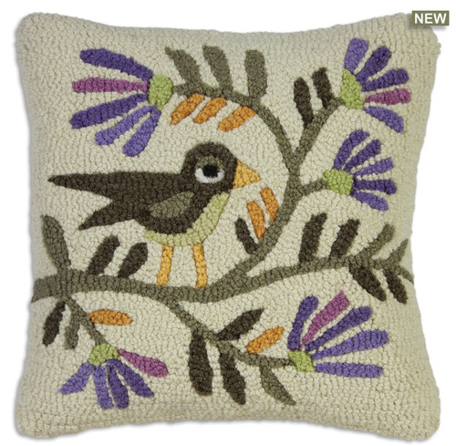 Folk Bird Blossom Chandler 4 Corners hooked wool throw pillow