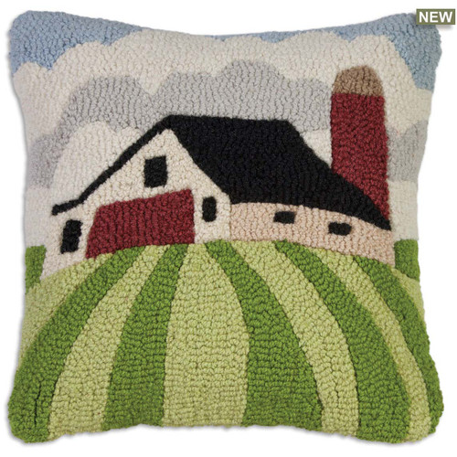 White Barn and Clouds Chandler 4 Corners hooked wool throw pillow