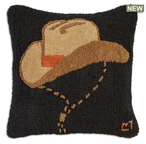 Howdy Man Chandler 4 Corners hooked wool throw pillow