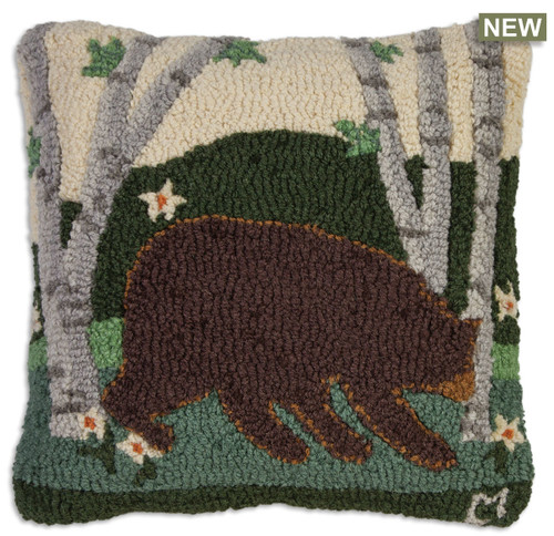 Summer Bear Chandler 4 Corners hooked wool throw pillow