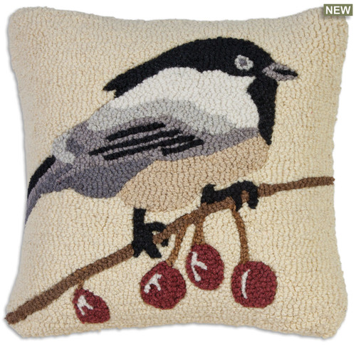 Black cap chickadee Chandler 4 Corners hooked wool throw pillow