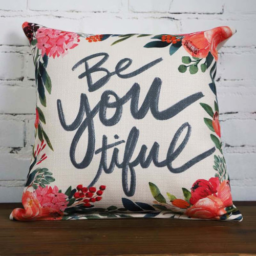 Be You tiful, beautiful throw pillow by Little Birdie