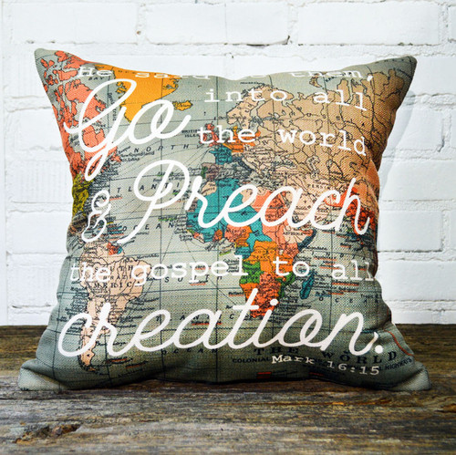 Go Preach the Gospel Little Birdie throw pillow
