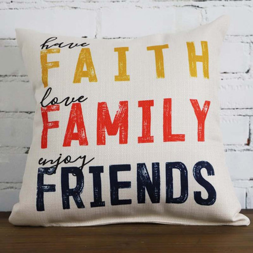 Faith, Family, Friends pillow The Little Birdie