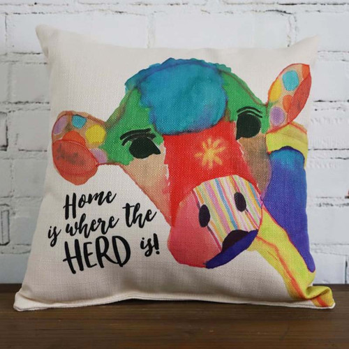 Home is Where the Herd is pillow Little Birdie