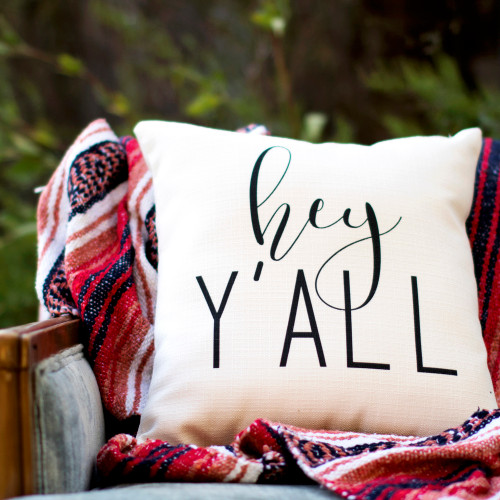 Hey Y'all pillow Little Birdie, pillow on denim sofa and blanket