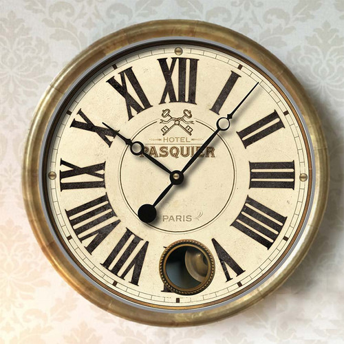 "Hotel Pasquier Wall Clock 14"" Cream Trademark Time"