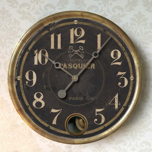 "Hotel Pasquier wall clock 14 "" black Trademark Clock"