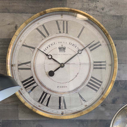 Trademark Time Company, Hotel de la Reine gray wall clock, outer metal rim is wrapped in antiqued copper, 23 inch, gray and cream face under glass, Hotel de la Reine is French and translates as the Queen's Hotel