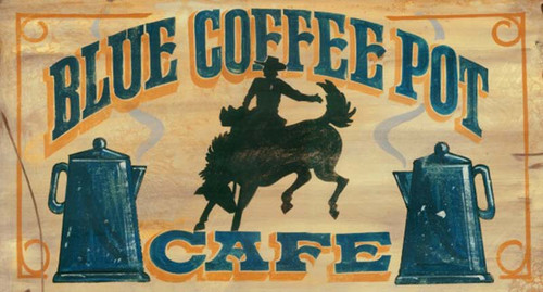blue coffee pot cafe vintage art on wood, Red Horse Signs
