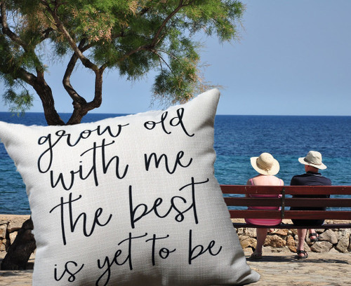 Little Birdie Pillow Grow Old with Me, couple sitting on a bench by a lake