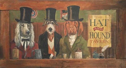 Hat and Hound vintage art on wood, Red Horse Signs