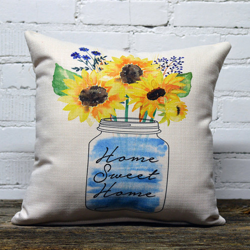 Home Sweet Home Mason Jar Little Birdie Pillow