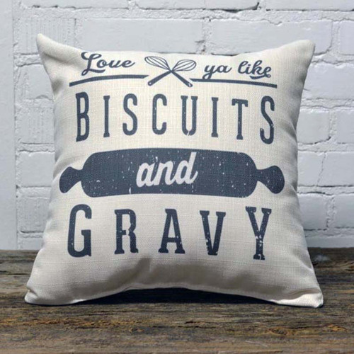 Love Ya Like Biscuits & Gravy Little Birdie Throw Pillow