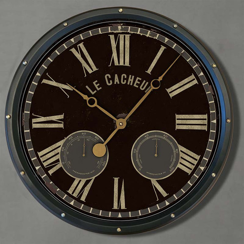 Le Cacheur wall clock, black background, by Trademark Time Co.