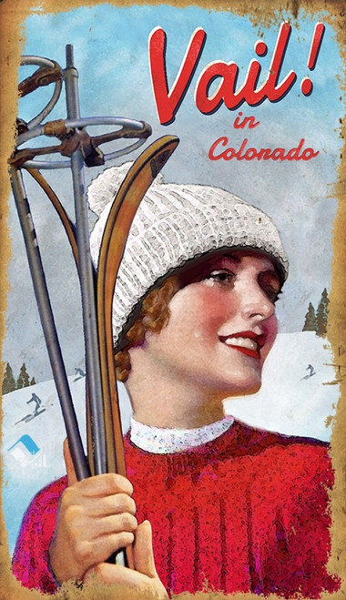 Vail Girl in Colorado, Red Horse Signs, wall art on wood