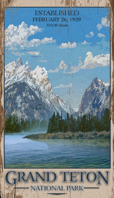 Grand Teton National Park, Wyoming with Jackson Lake in foreground, Vintage wall art on distressed wood