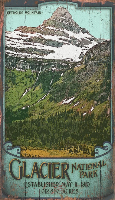 Glacier National Park, Montana view of mountains and blue sky, Vintage wall art on distressed wood