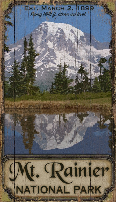 Mt. Rainer National Park, Washington, Vintage wall art on distressed wood