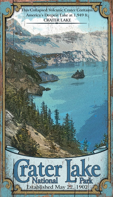Crater Lake National Park, Oregon, rippleless water makes it the bluest lake on earth, at night it twinkles with a million stars  Vintage wall art on distressed wood