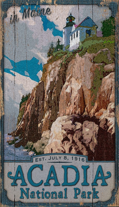Acadia National Park, Maine view of Bass Harbor Lighthouse  Vintage wall art on distressed wood