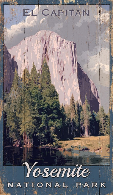 Yosemite National Park, Mt. Capitan, printed directly to a distressed wood panel that has knots and other imperfections in it.  Vintage wall art on distressed wood