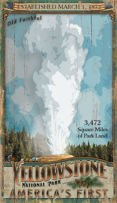 Old Faithful geyser, Yellowstone National Park, Wyoming, Montana, Old Faithful, Vintage wall art on distressed wood