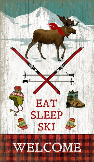"Eat Sleep Ski, on vintage wood, Red Horse Signs, designed by Suzanne Nicol. Moose, mountains, snow, skis, ""welcome"" text on red plaid background. Image printed directly to a distressed wood panel made from tongue and groove slats of alder, hemlock, or fir lumber."