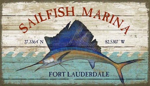 Sailfish Marina by Red Horse Signs, vintage art on wood