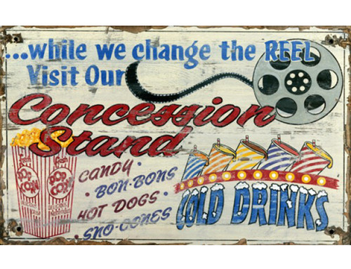Concessions home theater, vintage art, Red Horse Signs