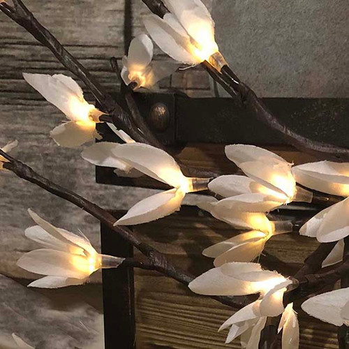 light garden white forsythia floral illumination 60 LED