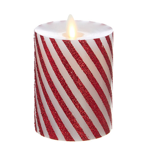 Raz moving flame wax candle red and white thin striped 4 inch