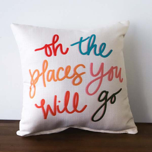 Oh the Places You Will Go throw pillow by the Little Birdie