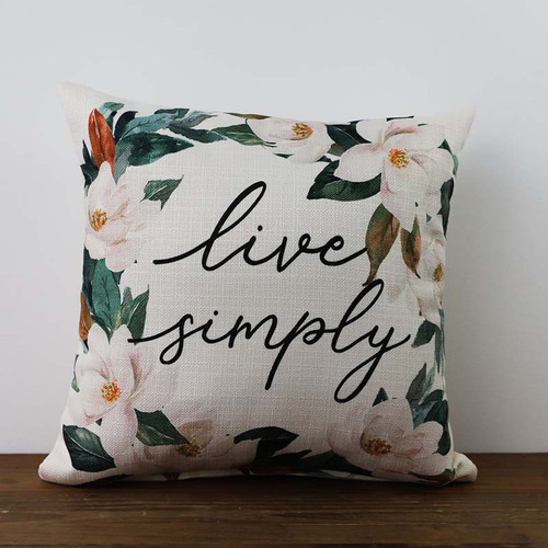 Live Simply Magnolia pillow by The Little Birdie
