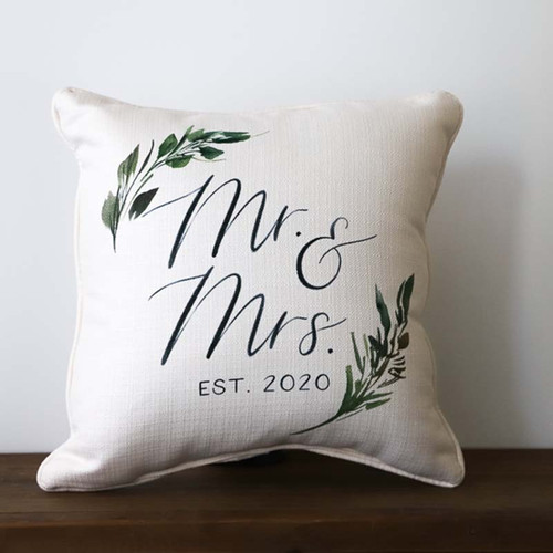 Mr and Mrs Est. Pillow Greenery