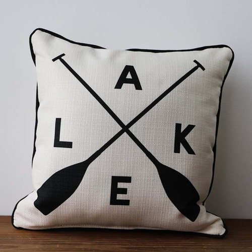 Lake with Crossed Oars Pillow