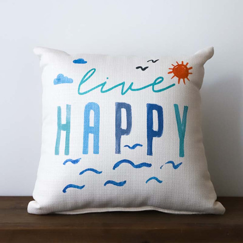 Live Happy Lake pillow, The Little Birdie