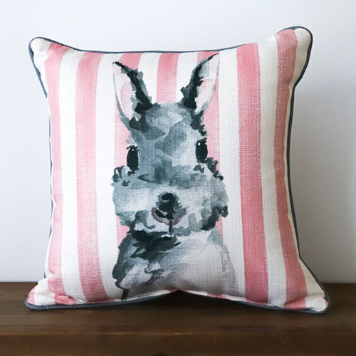 Pink Striped Bunny Pillow, The Little Birdie