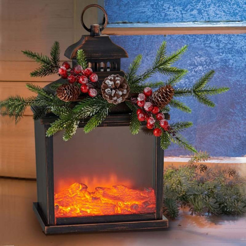 Firelight Christmas Lantern, One hundred 80 degree, moving flame, LED