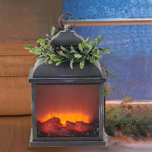 Mistletoe Firelight Lantern One hundred 80 degree, moving flame, LED