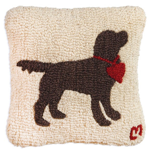 Chocolate Lab with Heart Chandler 4 Corners Hooked Wool Throw Pillow