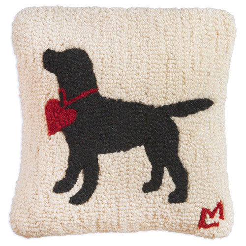 Black Lab with Heart, Chandler 4  Corners, Hooked Wool Pillow