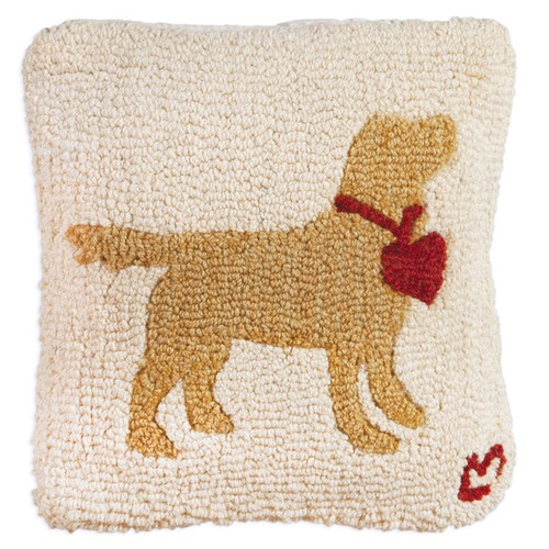 Yellow Lab with Heart Chandler 4 Corners, Hooked Wool Pillow