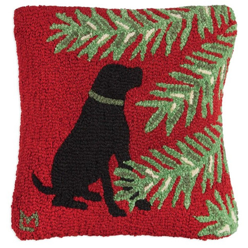 Balsam Black Lab, Chandler 4 Corners, Hooked Wool Pillow