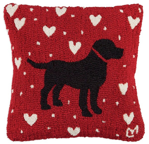 Black Lab Love, Chandler 4 Corners, Hooked Wool Pillow